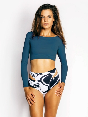 ALEKSANDRA long-sleeved top ocean blue