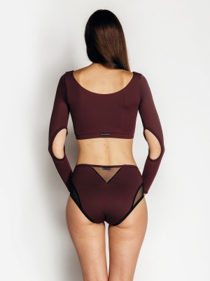 KARMEN long-sleeved top mahogany